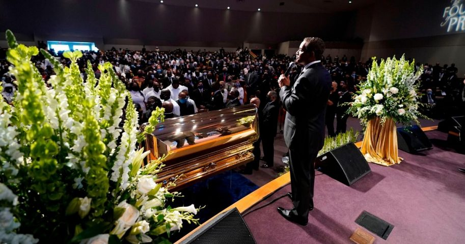 Senior pastor Dr. Remus Wright speaks during a funeral service for George Floyd at The Fountain of Praise church on June 9, 2020, in Houston.