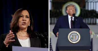 Kamala Harris, left, delivers remarks in Washington on Thursday. Right: President Donald Trump delivers his acceptance speech for the Republican presidential nomination on Thursday at the White House.