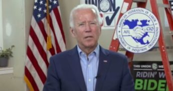 Democratic presidential nominee Joe Biden speaks during an online Q&A event hosted by the AFL-CIO on Labor Day.