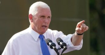 "Vice President Mike Pence speaks at a ""Workers for Trump"" campaign event at a PennEnergy Resources site on Sept. 9. 2020, in Freedom, Pennsylvania."