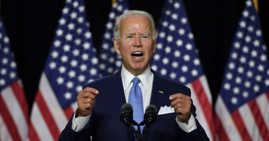 Democratic presidential nominee Joe Biden speaks before introducing his vice presidential running mate, California Sen. Kamala Harris, during their first news conference together in Wilmington, Delaware, on Aug. 12, 2020.