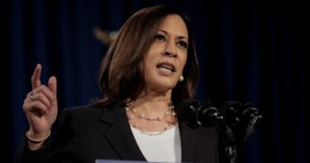 "Democratic vice presidential nominee Kamala Harris, pictured in an August file photo, used an appearance on Monday to predict what the ""Harris administration, together with Joe Biden as president"" would accomplish."
