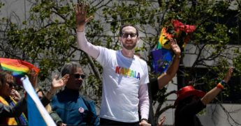State Senator Scott Weiner rides in support of Kamala Harris during the San Francisco Pride Parade and Celebration on June 30, 2019, in San Francisco, California.