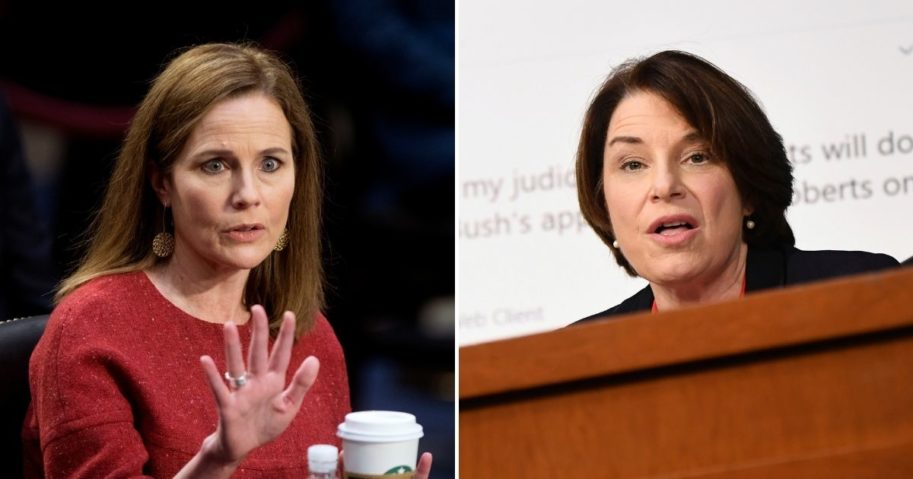 "Judge Amy Coney Barrett of the U.S. Court of Appeals for the 7th Circuit, left, set the record straight Tuesday with regard to questions of character and judicial partiality, telling Minnesota Democratic Sen. Amy Klobuchar that she does not ""attack people, just ideas."""