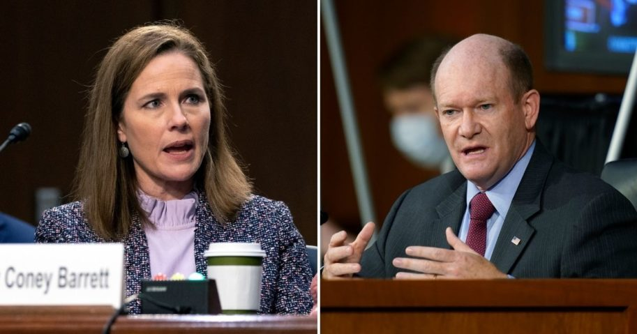 Day three of the Senate Judiciary Committee's confirmation hearing for Supreme Court nominee Judge Amy Coney Barrett, left, could well have been labeled Independence Day, as the nominee sought to remind Democratic Delaware Sen. Chris Coons that she will decide the law based on her judgment and no one else's.