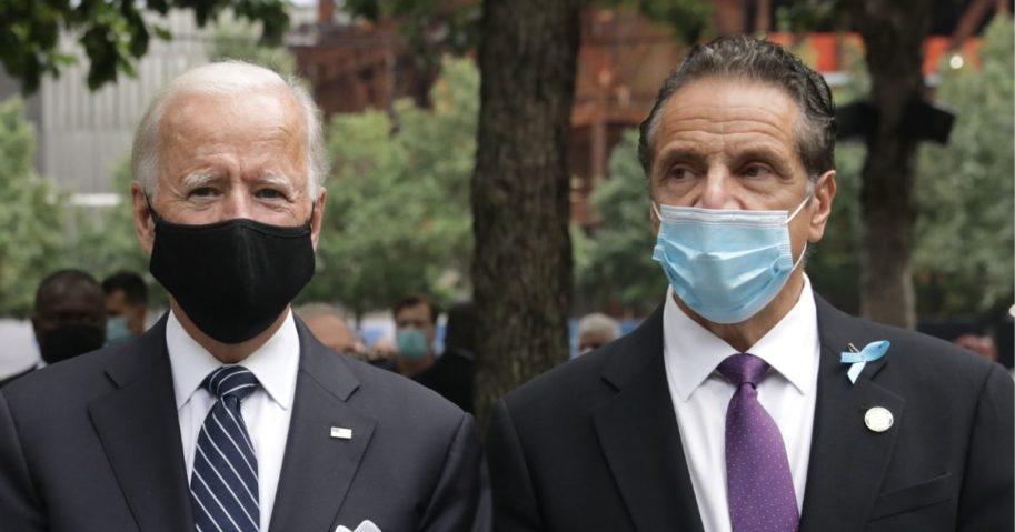 Democratic presidential nominee Joe Biden, left, and New York Gov. Andrew Cuomo attend a 9/11 memorial service.