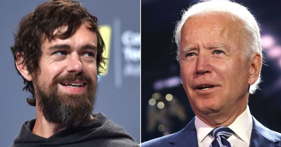 Twitter CEO Jack Dorsey, left, speaks at the Aria Resort and Casino in Las Vegas on Jan. 9, 2019. Democratic presidential nominee Joe Biden appears on stage at the Chase Center in Wilmington, Delaware, on Aug. 19, 2020.