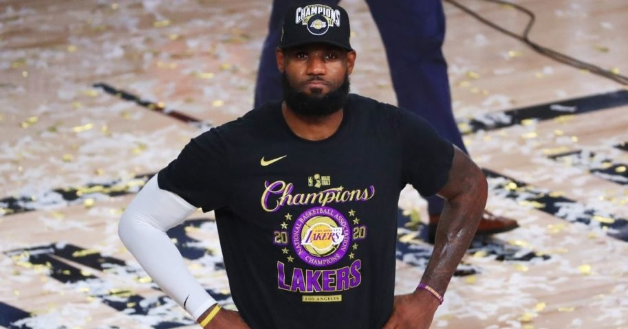 LeBron James of the Los Angeles Lakers reacts after his team defeated the Miami Heat in Game 6 of the NBA Finals on Sunday to win the championship at the ESPN Wide World Of Sports Complex in Lake Buena Vista, Florida, on Sunday.