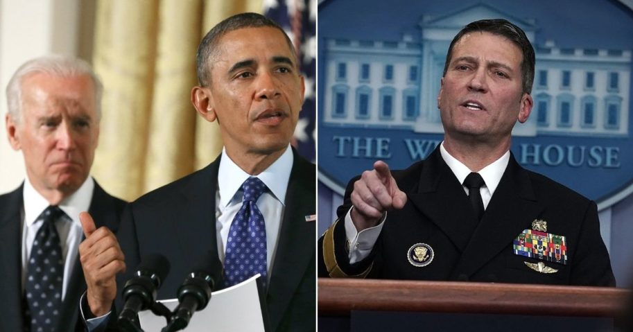 """Former White House physician Ronny Jackson, right, has said that former Vice President Joe Biden lacks the """"mental capacity"""" required to be commander in chief."""
