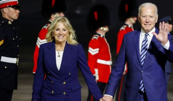 President Joe Biden and Jill Biden arrive at Cornwall Airport on Wednesday near Newquay, Cornwall, England.