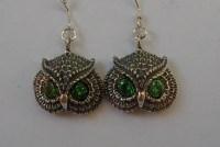 Sterling Silver Owl Earrings With Emerald Eyes | Western ...