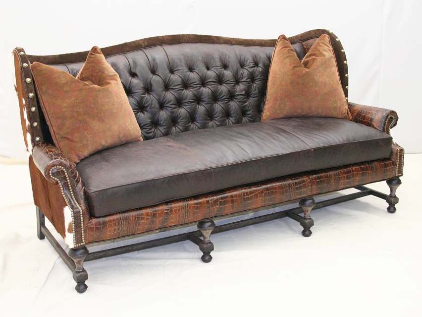 Tufted Patchwork Leather Sofa Old Hickory Tannery Furniture Free