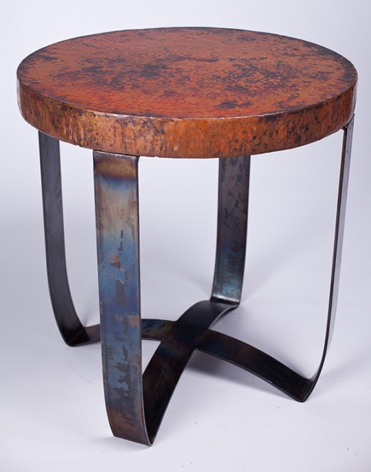 round strap copper end table