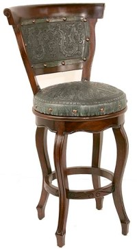Tooled Turquoise Leather Barstool Set of 2: Western Passion