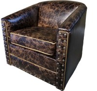 Distressed Rustic Leather Swivel Glider Western Accent