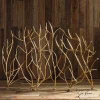 Gold Branches Decorative Fireplace Screen Western ...