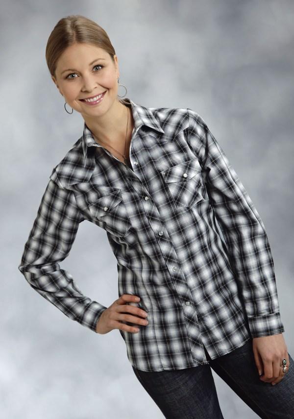 Roper Women' Black Grey White Plaid Ls Snap Western Shirt