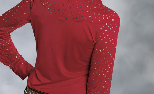 Roper Women S Red Sequined Long Sleeve Rhinestone Snap