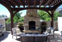 Add Element of Fire with Outdoor Fireplace & DIY Pergola