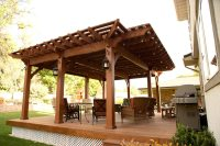 Backyard Deck Pergola: Lattice FullWrap Cantilever Roof