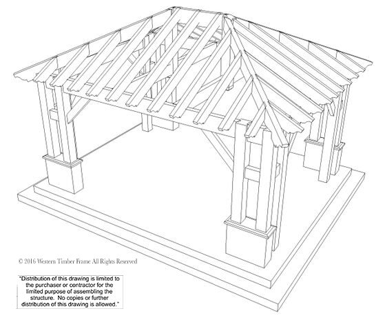 22'x24' Hip Roof Pavilion w/ Integrated Self-Contained