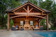 3rd Gable Pavilion Withprivacy Wall & Fireplace Western