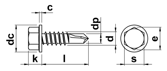 Hex Head Self Drilling Screws With Flange No.8 in A2