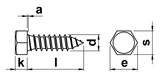 Hex Tapping Screw Type C (AB) ISO 1479 (DIN 7976) No.10 in