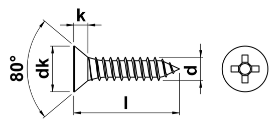 Phillips Csk Self Tapping Screw (AB) No.10 x 16mm in A2