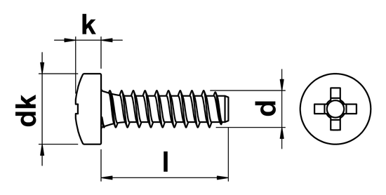 Phillips Pan Tapping Screw (Dog Point) No.2 x 4.5mm in A2