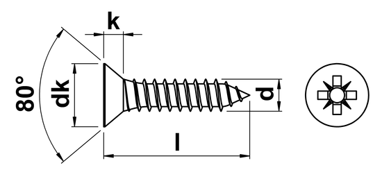 Pozi Countersunk Self Tapping Screw (AB) No.10 x 38mm in
