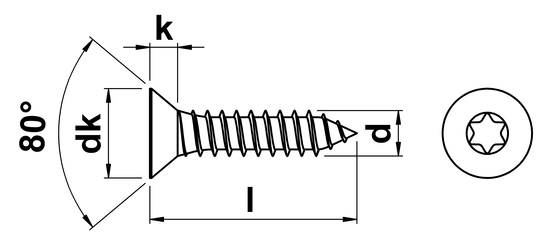 Self Tapping Screw Torx Countersunk (AB) No.4 x 25mm in A2