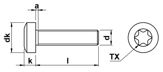 Torx Pan Head Screw ISO 14583 M6 in A2 Stainless Steel