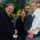 Dennis Galvin (left) with Melinda and Matthew Lynde and their daughter Tessa.
