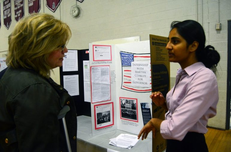 Aditi Patil (right) explains her time working on Martha Coakley's gubernatorial campaign.