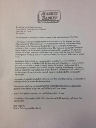 A letter sent to Market Basket employees.