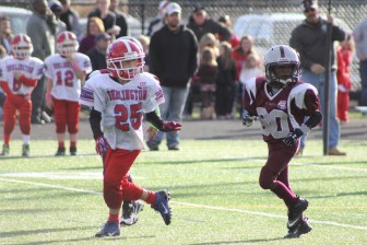 Westford's Orion Saunders (#80) prepares for the ball. (credit: Mike Saunders)