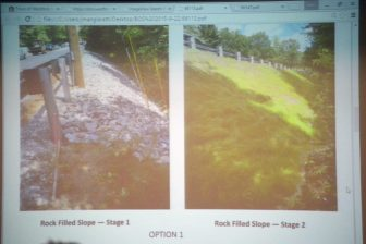 A slide from the meeting showing what the rock filled slope would look like.