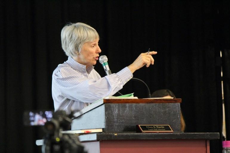 Town Moderator Ellen Hard at the 2016 Annual Town Meeting (credit - Sarah Fletcher)