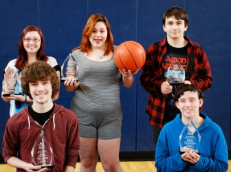 Holding the awards they received for Best Studio and Live Production at the Merrimack Valley Film Festival are, front row, from left, William Featherston (Pepperell) and Danielle St. Amand (Chelmsford), and, back row, from left, Melynda Barlow (Chelmsford), Jayna Hawkes (Chelmsford) and Garrett Filiatrault (Westford). They are all sophomores at Nashoba Tech. (courtesy - Dan Phelps)