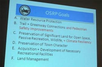 The six Open Space Recreation Plan (OSRP) goals