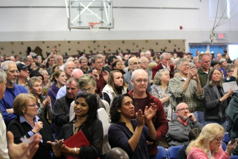 Almost 900 were inside the Abbot School gymnasium for annual Town Meeting on March 25. PHOTO BY SARAH FLETCHER
