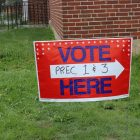 The sign tells voters the basics. PHOTO BY JOYCE PELLINO CRANE