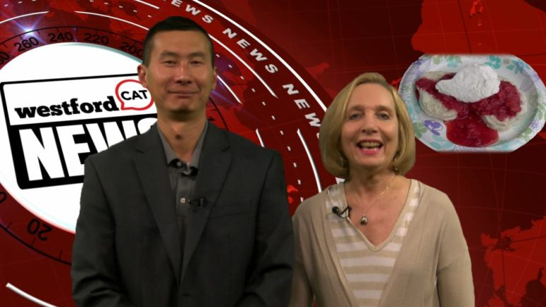 Jack Wang and Joyce Pellino Crane anchored this week's news show. WESTFORDCAT PHOTO