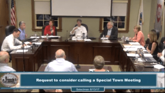 Selectmen set the warrant on June 13 for a special Town Meeting on July 10. WESTFORDCAT PHOTO
