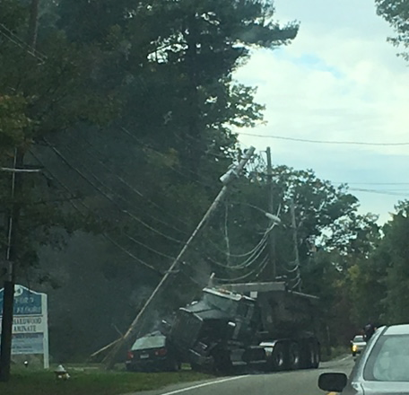 A serious motor vehicle accident on Route 110 on Oct. 6 caused Westford police to close the state roadway for hours. COURTESY PHOTO KATE REUTHER