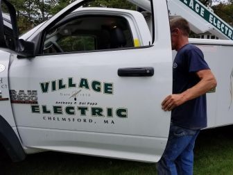 Village Electric of Chelmsford was the company hired to replace damaged wires. PHOTO BY JOYCE PELLINO CRANE