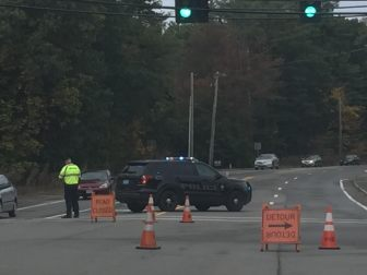 An accident at 254 Littleton Road on Oct. 6 caused Westford police to redirect traffic for hours and sent an unidentified man to the hospital. PHOTO BY IRA KELTZ