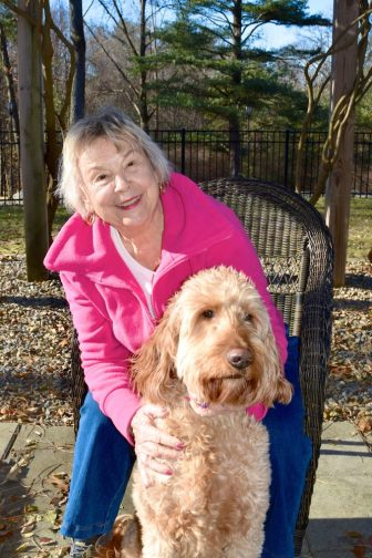 Edie Fruscione and her golden doodle, Reuben. COURTESY PHOTO