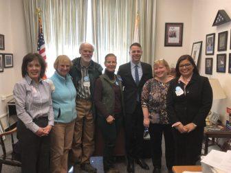 From left are Diane Wood, Marilyn Katler, Barry Rosenberg, Julie Dodd, state Rep. JamesArciero, Susan Lavigne Thomas, and Betsy Alvarez, all of Westford.